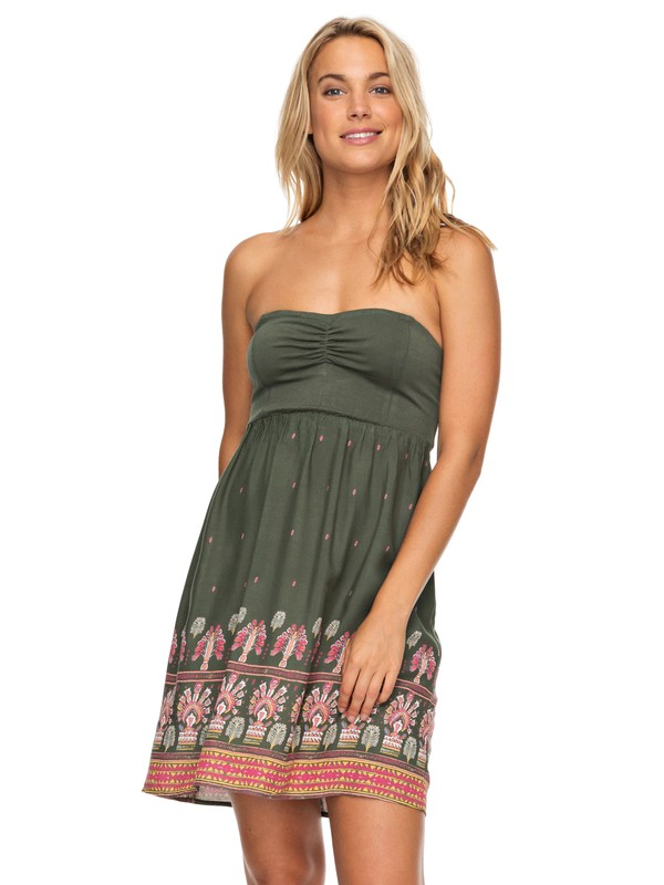 0 Ocean Romance Strappless Dress Brown ERJWD03218 Roxy