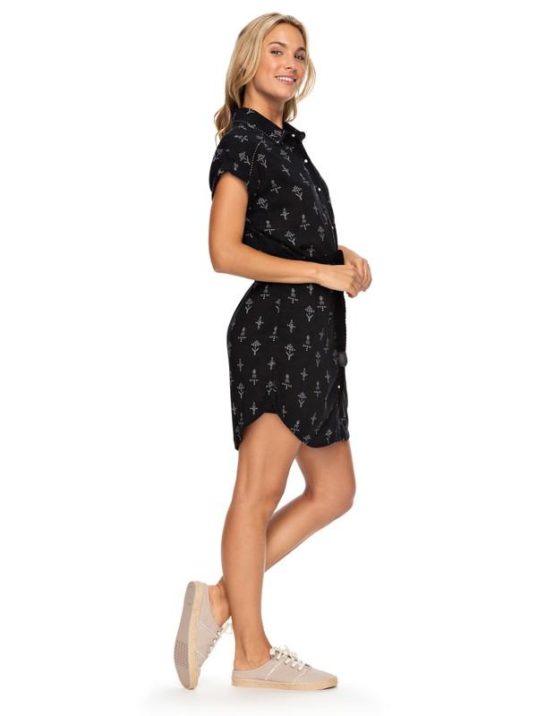 0 Canyon Space Short Sleeve Shirt Dress Black ERJWD03224 Roxy