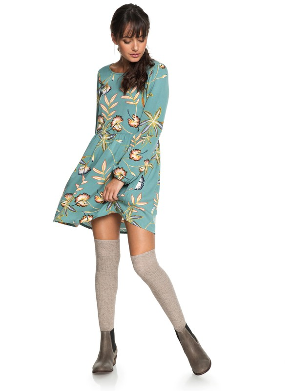 0 Highland Escape Long Sleeve Dress Blue ERJWD03238 Roxy
