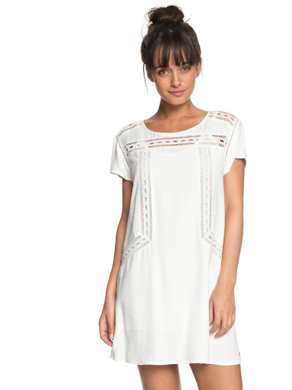 0 Wildflower Land Short Sleeve Dress White ERJWD03239 Roxy