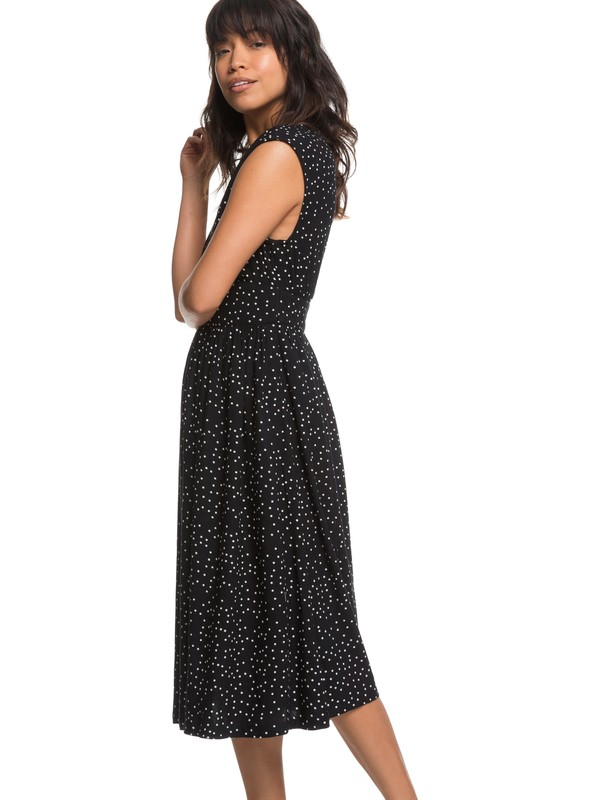 0 Retro Poetic Sleeveless Midi Dress Black ERJWD03245 Roxy