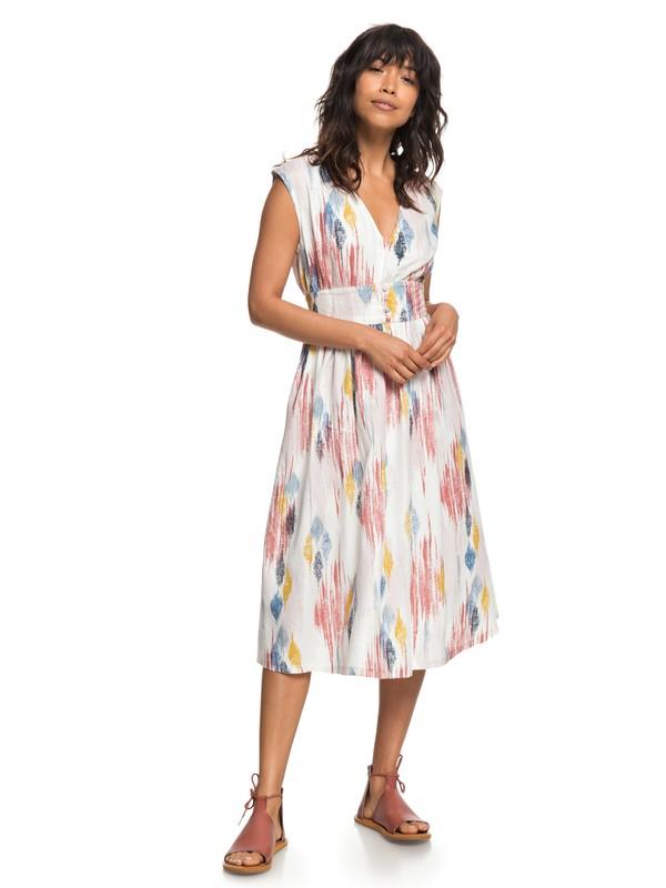 0 Retro Poetic Sleeveless Midi Dress  ERJWD03245 Roxy