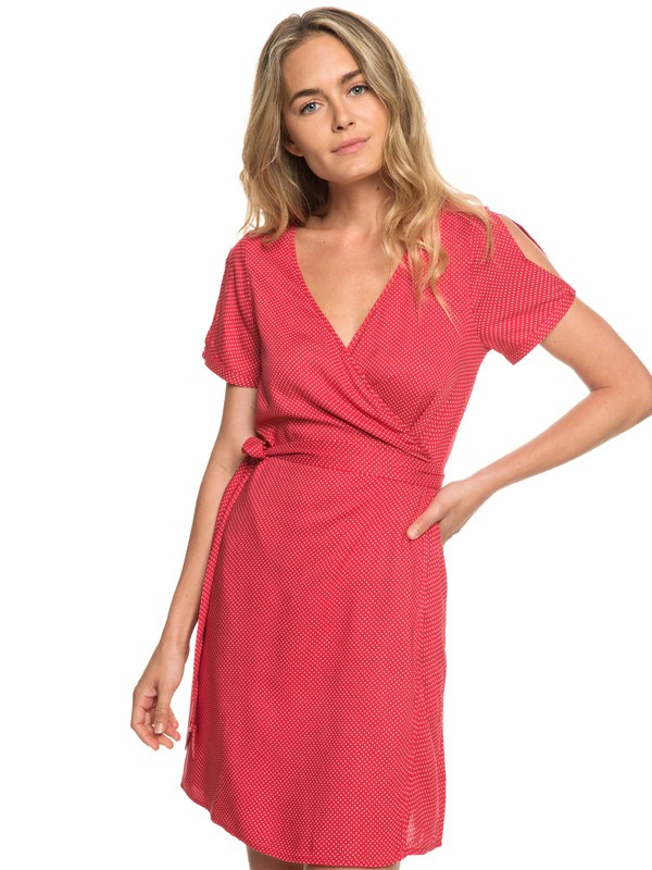0 Monument View Short Sleeve Wrap Dress Red ERJWD03249 Roxy