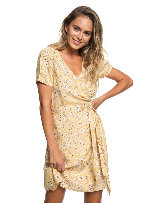 0 Monument View Short Sleeve Wrap Dress Yellow ERJWD03249 Roxy
