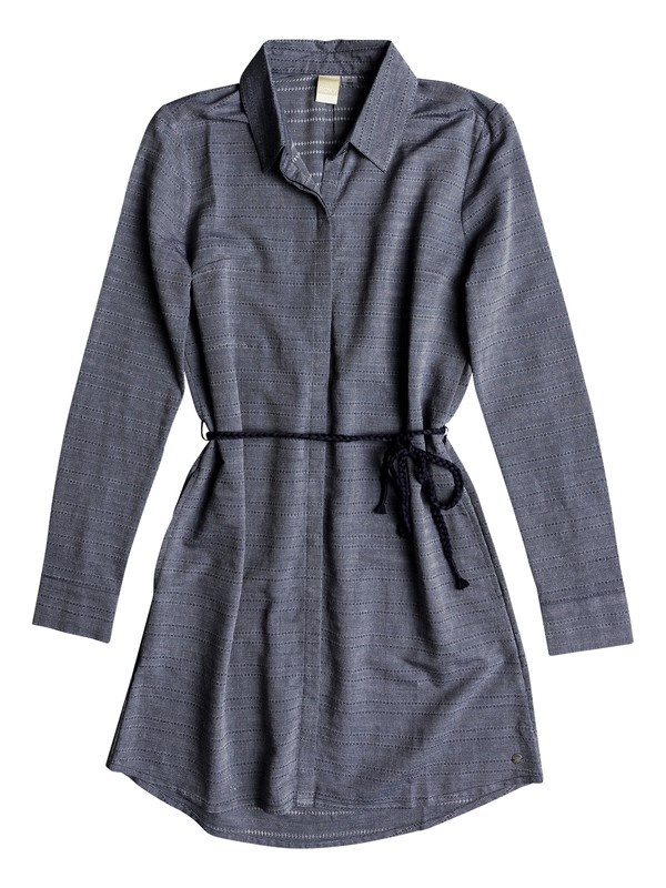 0 Crazy Whisper Long Sleeve Shirt Dress Blue ERJWD03254 Roxy