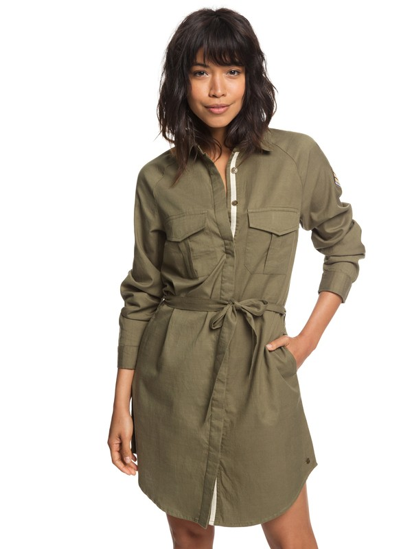 0 Khaki Sphere Long Sleeve Shirt Dress Green ERJWD03256 Roxy