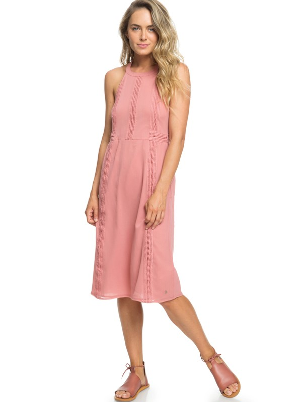 0 Blurred Landscape Halter Neck Dress Pink ERJWD03257 Roxy
