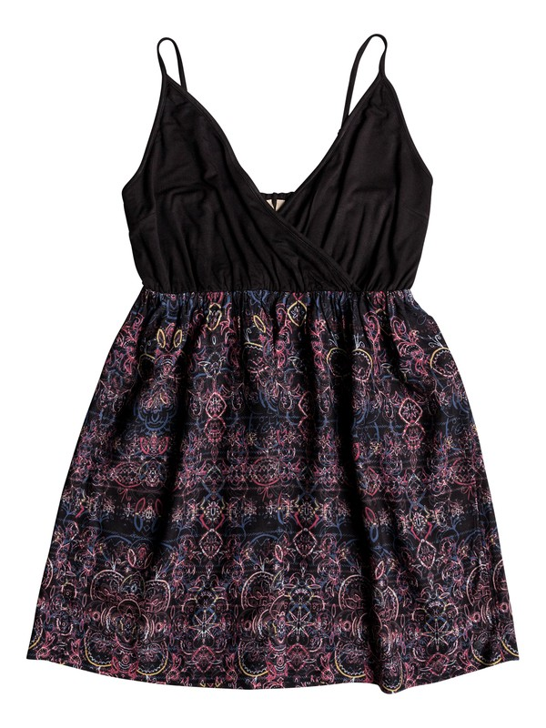 0 Floral Offering Strappy Dress Black ERJWD03271 Roxy