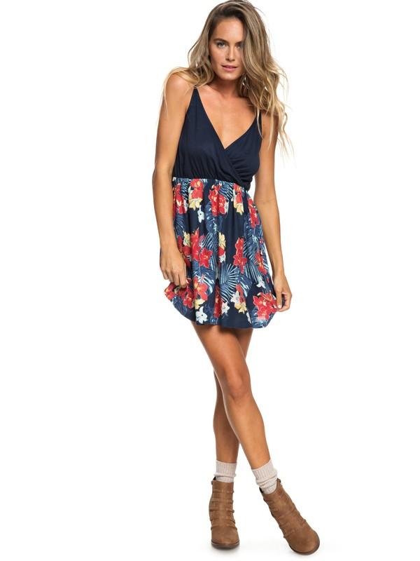 0 Floral Offering Strappy Dress Blue ERJWD03271 Roxy