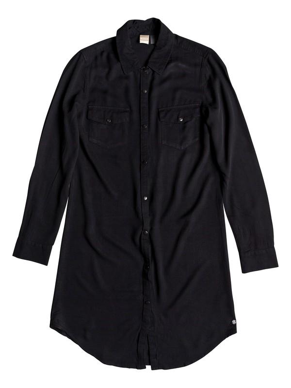 0 Tomini Bay View Long Sleeve Shirt Dress Black ERJWD03280 Roxy