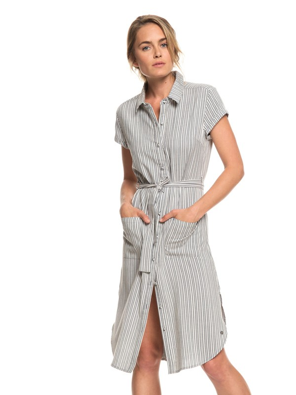 0 Sunday Morning Market Short Sleeve Shirt Dress Black ERJWD03303 Roxy