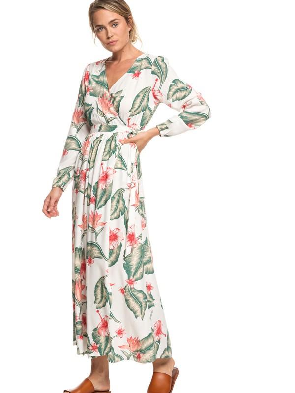 0 Taste Of Tomorrow Long Sleeve Wrap Dress White ERJWD03309 Roxy