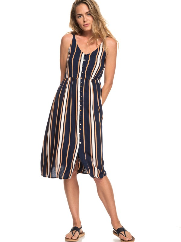 0 Sunset Beauty Strappy Midi Dress Blue ERJWD03313 Roxy