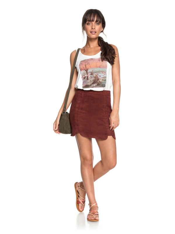 0 The Cactus Chronicle Faux Suede Skirt Red ERJWK03039 Roxy