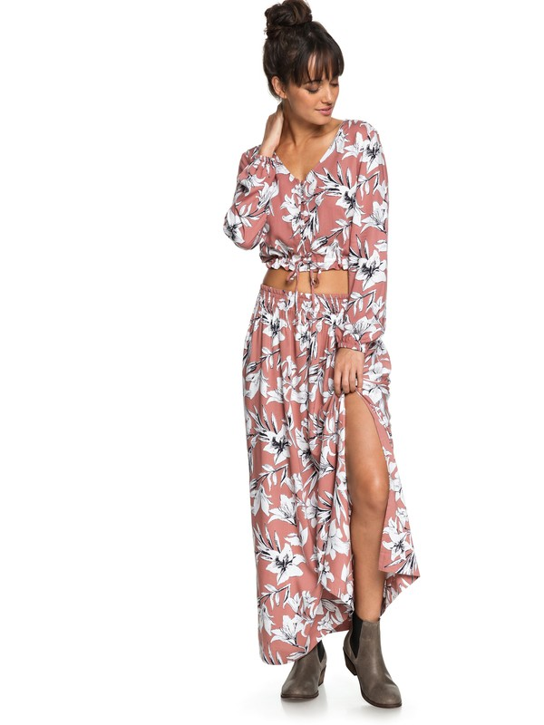 0 Last Forever Maxi Skirt Pink ERJWK03043 Roxy