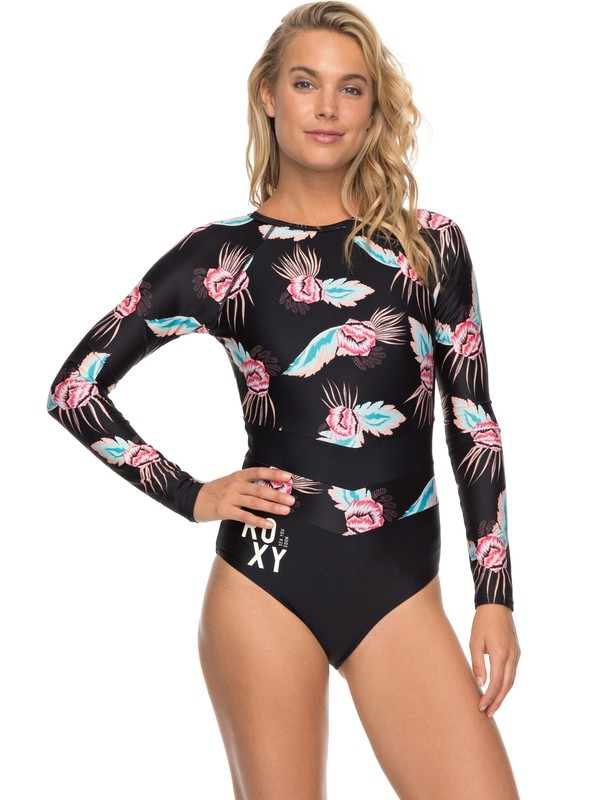 0 ROXY Fitness - Long Sleeve One-Piece Swimsuit for Women Black ERJWR03214 Roxy