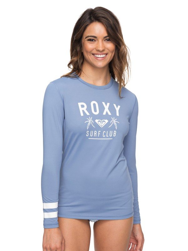 0 Enjoy Waves Loose Fit  Long Sleeve UPF 50 Rashguard Blue ERJWR03223 Roxy