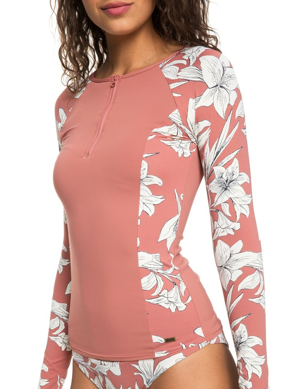 0 Softly Love Long Sleeve UPF 50 Zipped Rash Guard Pink ERJWR03246 Roxy
