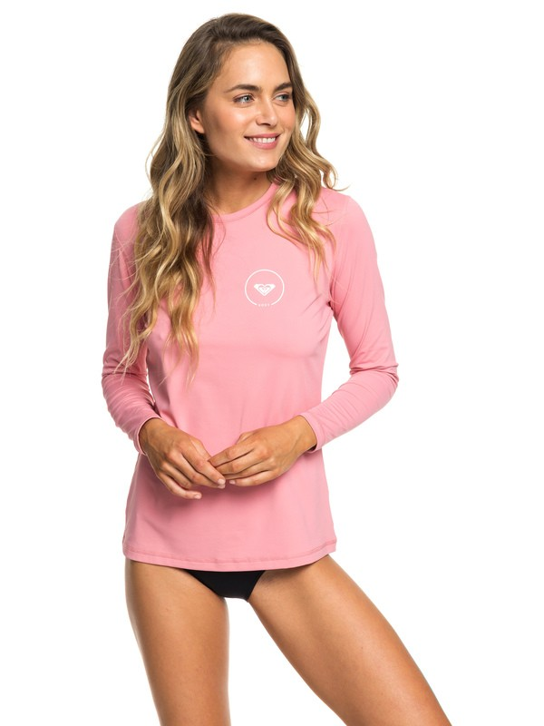 0 Enjoy Waves Long Sleeve UPF 50 Rash Guard Pink ERJWR03255 Roxy