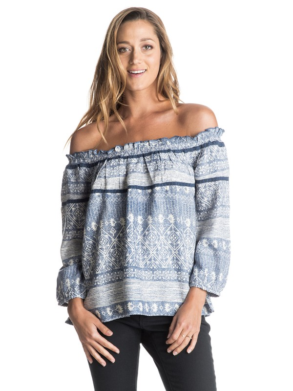 0 Beach Fossil Printed Cold Shoulder Top  ERJWT03093 Roxy