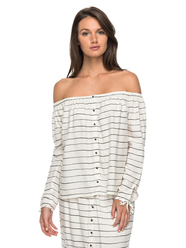 0 Ms Brightside Long Sleeve Off the Shoulder Top White ERJWT03148 Roxy