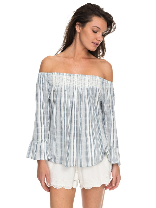 0 Moon Sapphire Stripe Off The Shoulder Top Blue ERJWT03184 Roxy