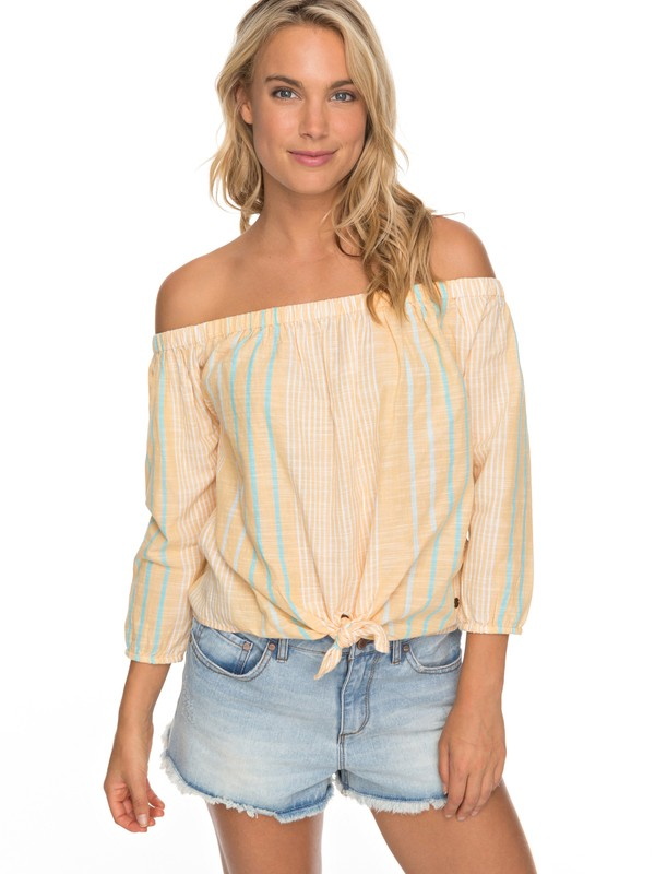 0 Crossing Stripes  Off The Shoulder Top Beige ERJWT03190 Roxy