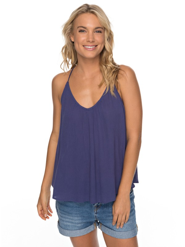 0 Local In The Sky Strappy Viscose Top Blue ERJWT03193 Roxy
