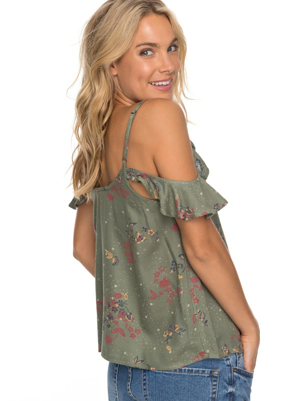 0 Dreamland Groove Cold Shoulder Cami Green ERJWT03197 Roxy