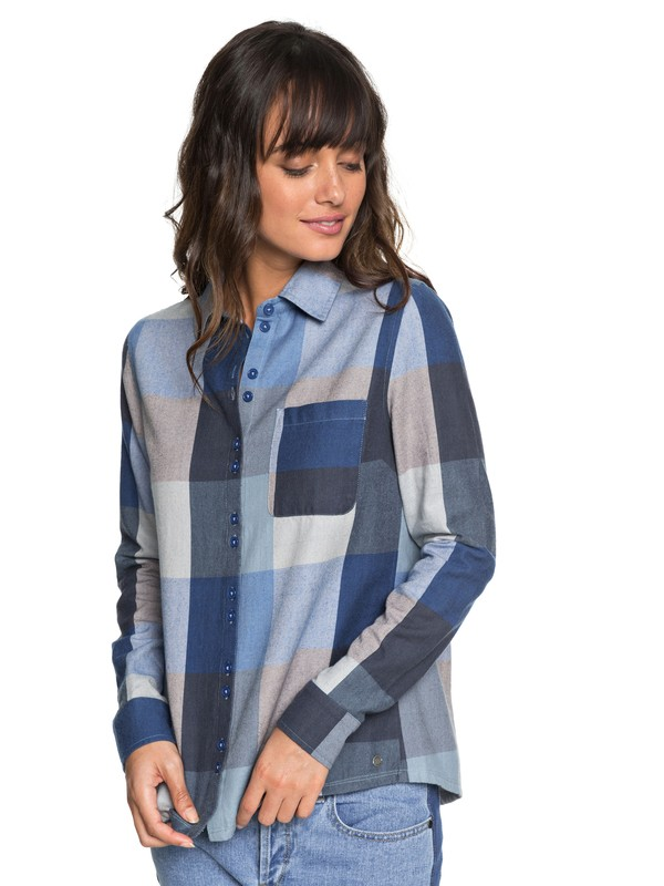 0 Concrete Streets Check Long Sleeve Flannel Shirt Blue ERJWT03240 Roxy