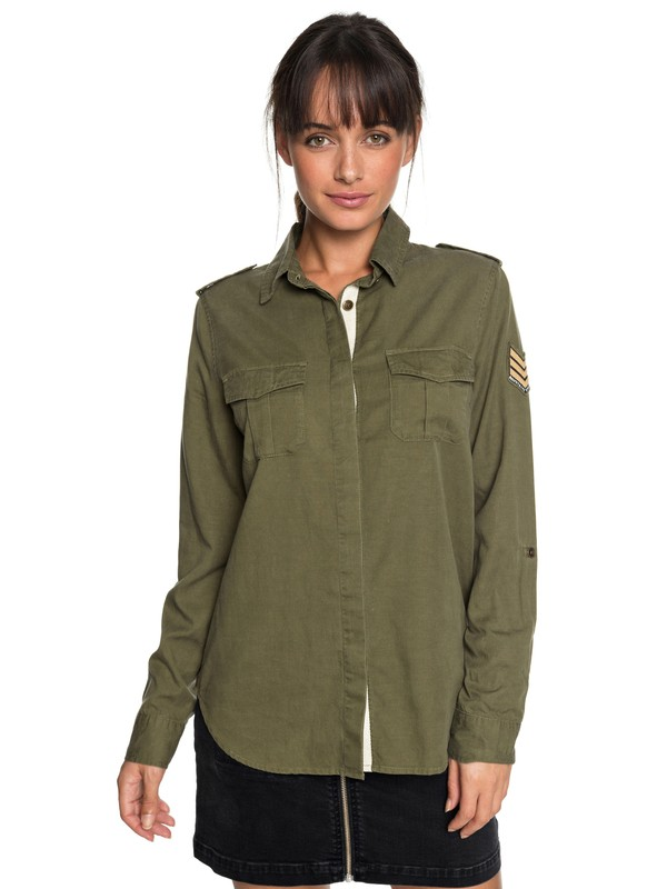 0 Military Influence Long Sleeve Shirt Green ERJWT03241 Roxy