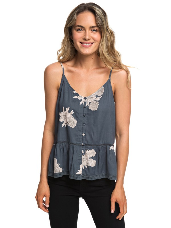 0 Manhattan At Dusk Button Front Cami Top Black ERJWT03286 Roxy