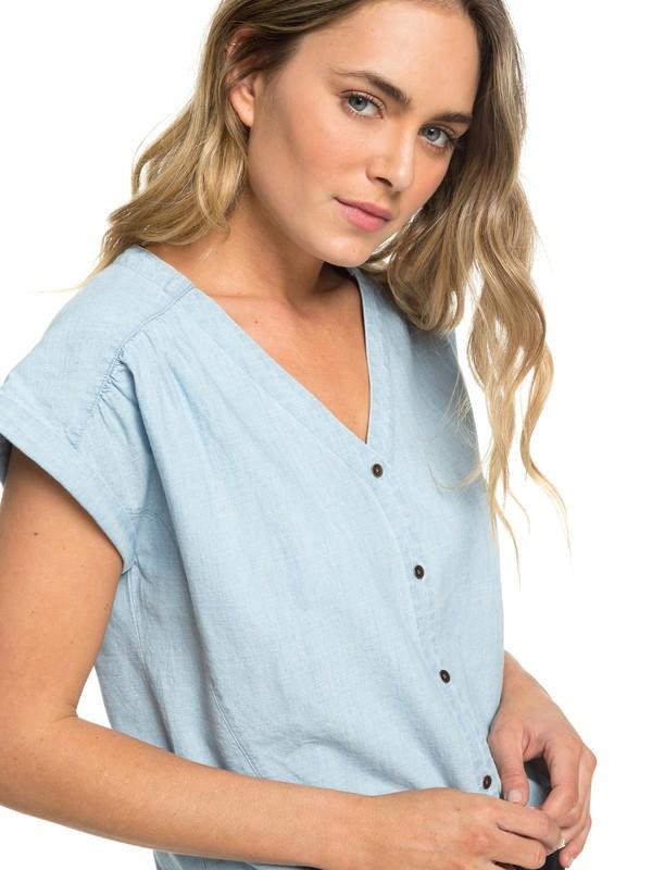 0 Feel The Bronx Short Sleeve Shirt Blue ERJWT03303 Roxy