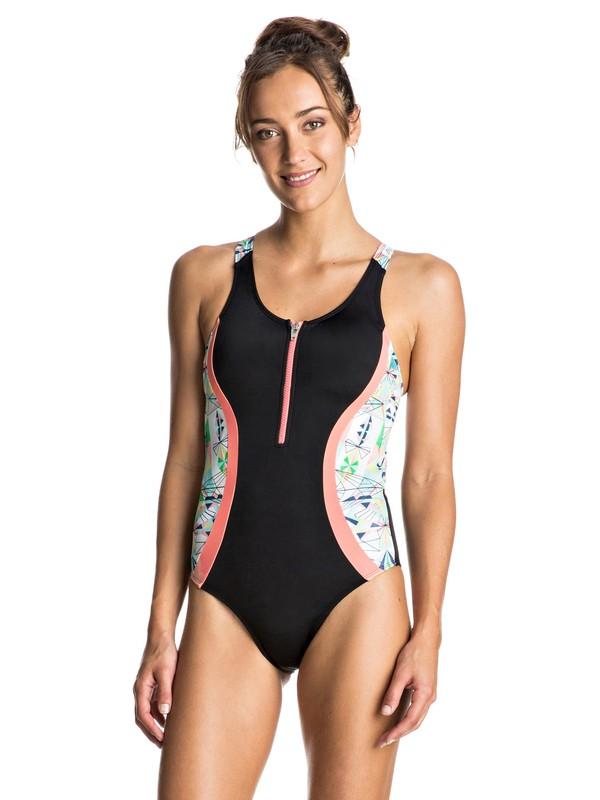 0 Keep It ROXY - Zip Front One-Piece Swimsuit Black ERJX103061 Roxy