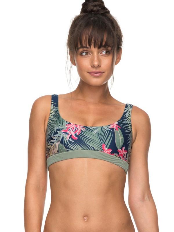 0 ROXY Fitness Sporty Bra Bikini Top Blue ERJX303622 Roxy