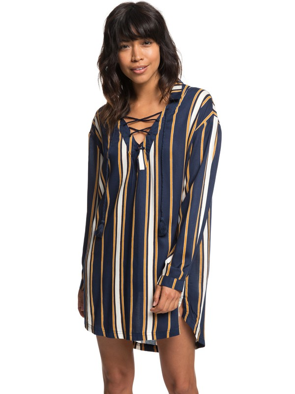 0 Lonely For You - Vestito Camicia a Maniche Lunghe da Donna Blue ERJX603139 Roxy
