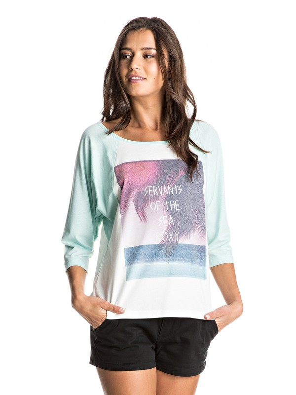 0 Surfer Dude Servants Of The Sea 3/4 Sleeve Raglan Tee  ERJZT03934 Roxy