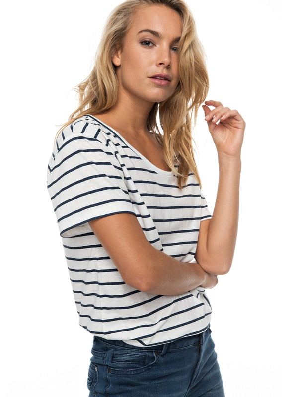 0 Just Simple Stripe - T Shirt col rond pour Femme  ERJZT04056 Roxy