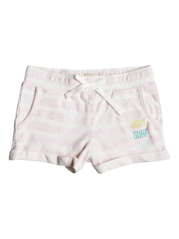 0 Girl's 2-6 Laugh And Love Stripe Sweat Shorts Pink ERLFB03044 Roxy