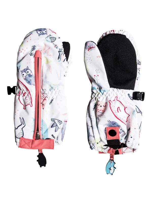 0 Girl's 2-6 Snow's Up Snowboard/Ski Mittens White ERLHN03005 Roxy