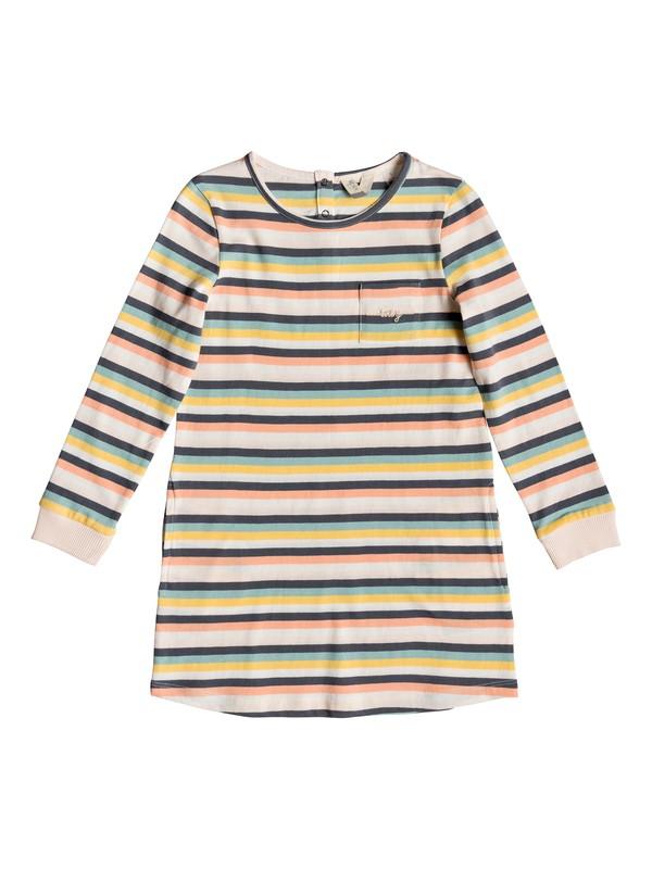 0 Girl's 2-6 White Paradise Long Sleeve T-Shirt Dress Pink ERLKD03061 Roxy