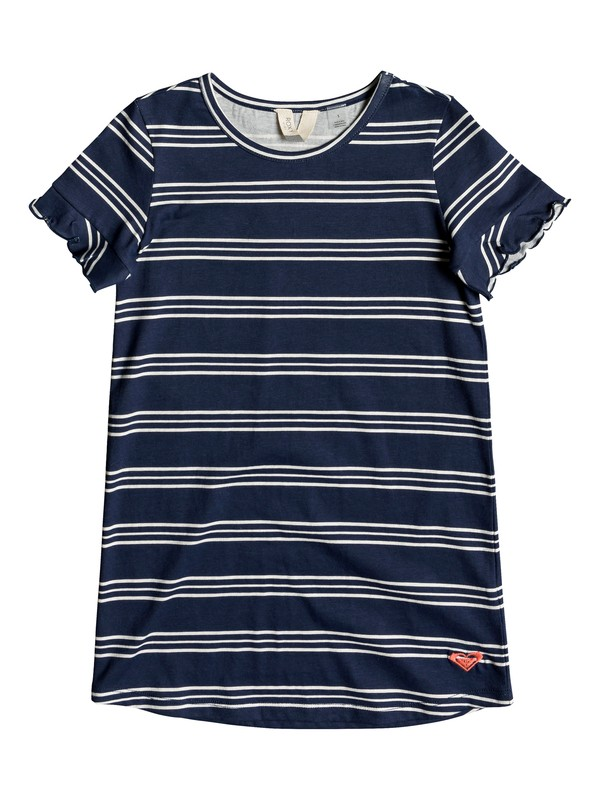 0 Girl's 2-6 Second Sun Short Sleeve T-Shirt Dress Blue ERLKD03064 Roxy
