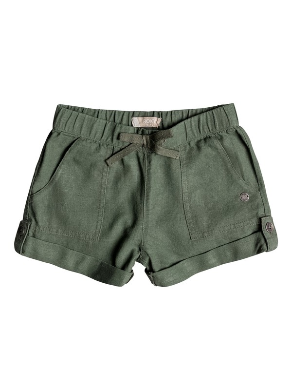 0 Girl's 2-6 Care Free Spirit Linen Shorts Green ERLNS03016 Roxy