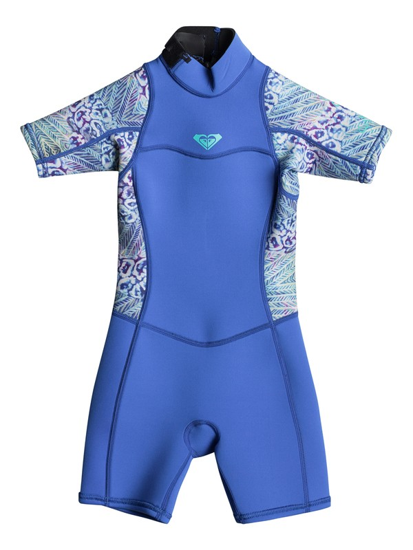0 Girl's 7-14 2/2mm Syncro Series Short Sleeve Back Zip FLT Springsuit Blue ERLW503001 Roxy