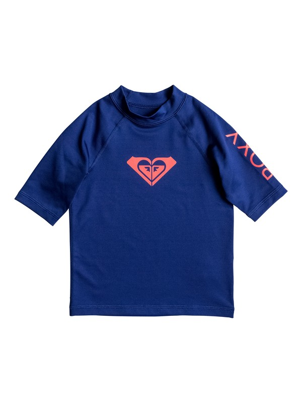 0 Girl's 2-6 Whole Hearted Short Sleeve UPF 50 Rashguard Blue ERLWR03005 Roxy