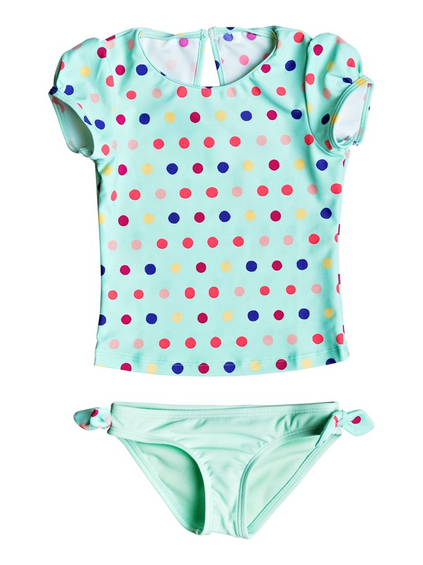 0 Girls 2-6 Rainbow Dots Cap Sleeve Rashguard Set  ERLWR03033 Roxy