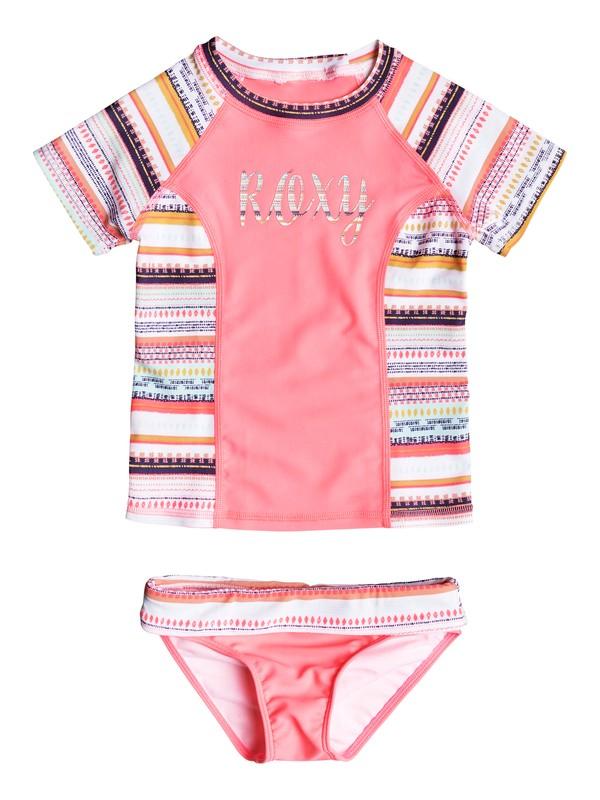 0 Girls 2-6 Little Indi Short Sleeve Rashguard Set White ERLWR03061 Roxy