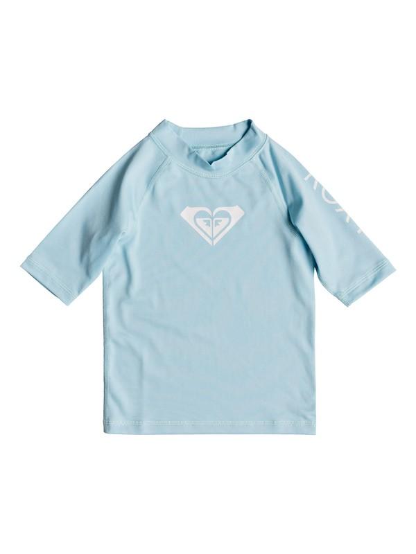 0 Girls 2-6 Whole Hearted Short Sleeve UPF 50 Rash Guard Blue ERLWR03074 Roxy