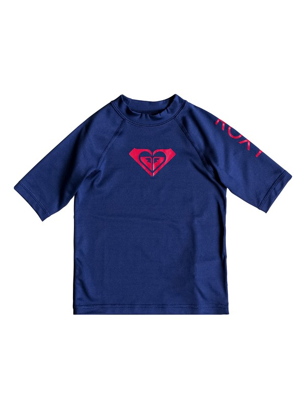 0 Girl's 2-6 Whole Hearted Short Sleeve UPF 50 Rash Guard Blue ERLWR03074 Roxy
