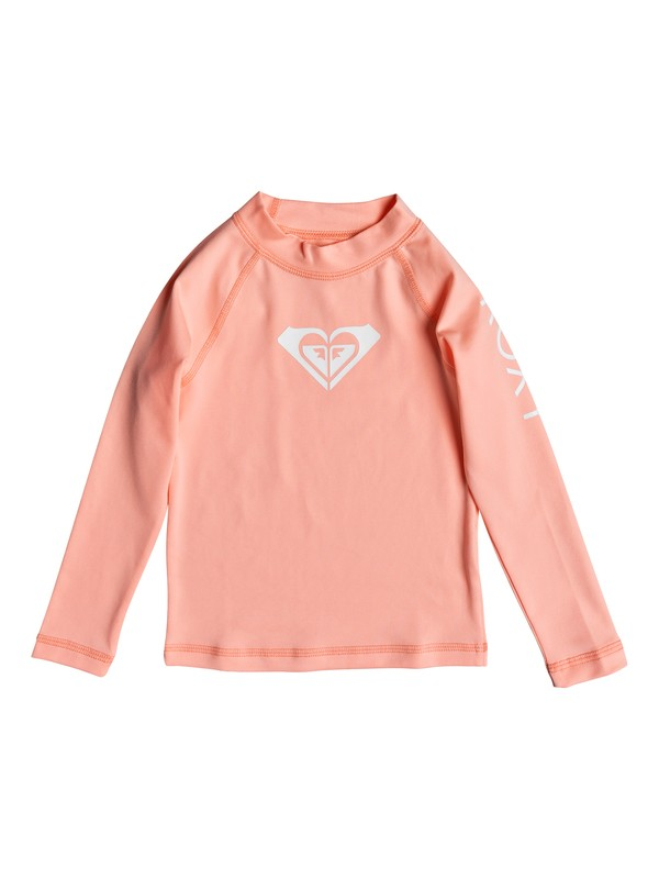 0 Girl's 2-6 Whole Hearted Long Sleeve UPF 50 Rash Guard Pink ERLWR03075 Roxy